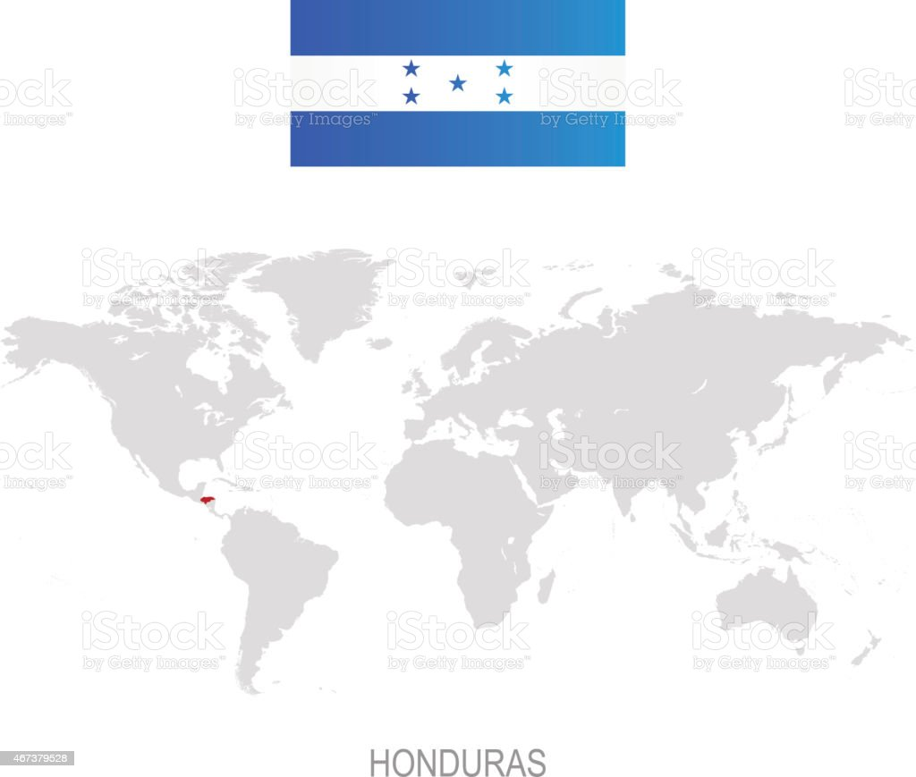 Royalty Free Honduras On World Map Clip Art Vector Images