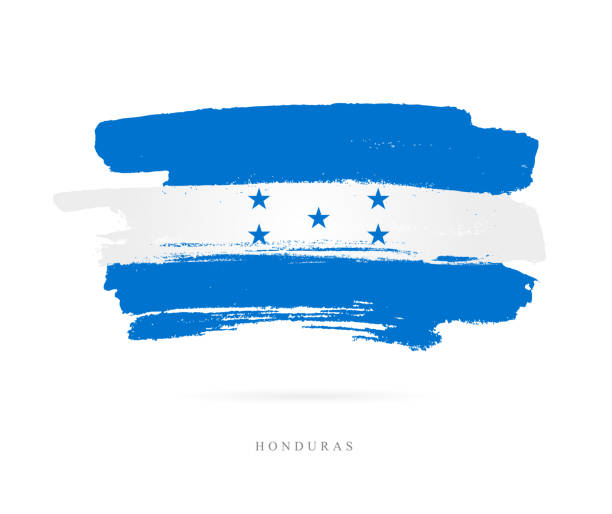 Flag of Honduras. Vector illustration Flag of Honduras. Vector illustration on white background. Beautiful brush strokes. Abstract concept. Elements for design. honduras stock illustrations