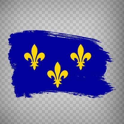 Flag of Ile-de-France  brush strokes. Flag Region Ile-de-France of France on transparent background for your web site design, app, UI. French Republic.  EPS10.