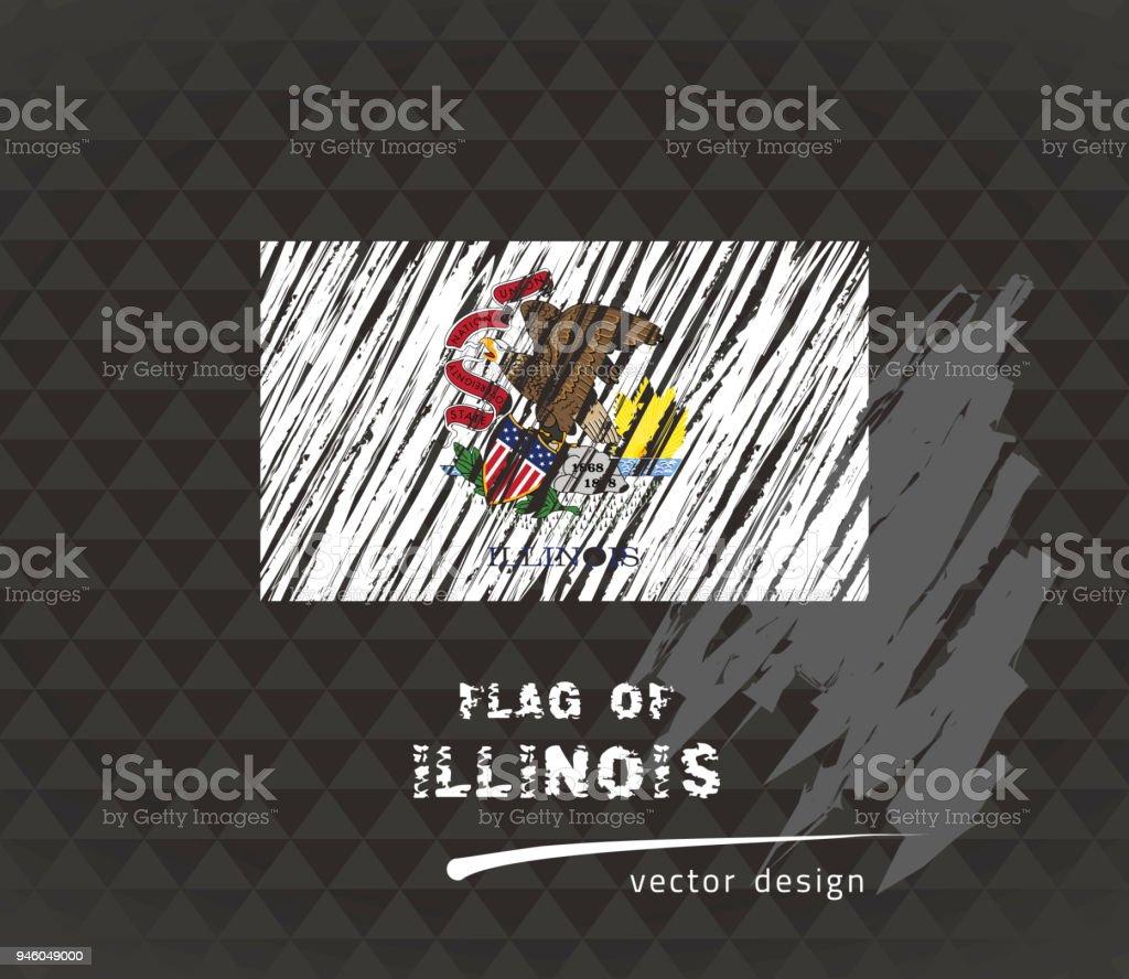 Flag of Illinois, vector pen illustration on black background vector art illustration