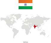 Flag of India and designation on World map