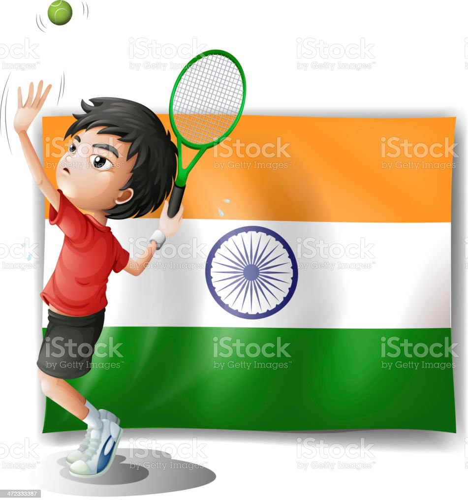 Flag of India and the tennis player royalty-free stock vector art