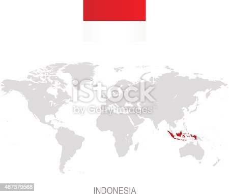 Flag of indonesia and designation on world map stock vector art flag of indonesia and designation on world map stock vector art more images of arrangement 467379568 istock gumiabroncs Images