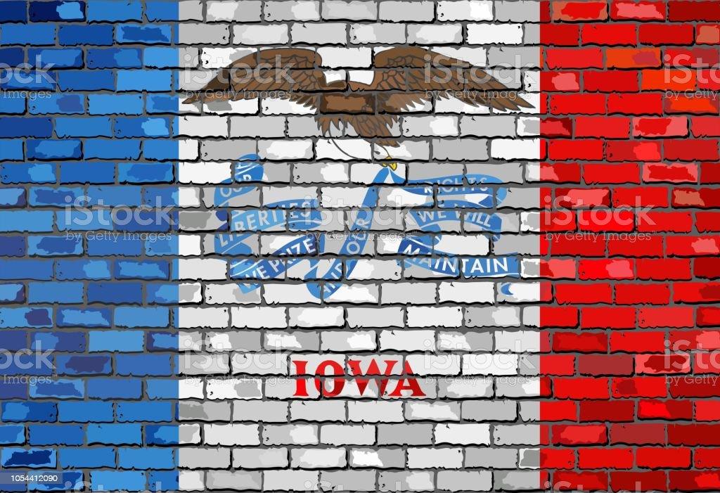 Flag of Iowa on a brick wall - ilustração de arte vetorial