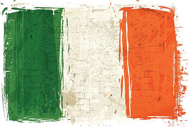ilustraciones, imágenes clip art, dibujos animados e iconos de stock de bandera de irlanda en pared - bandera irlandesa
