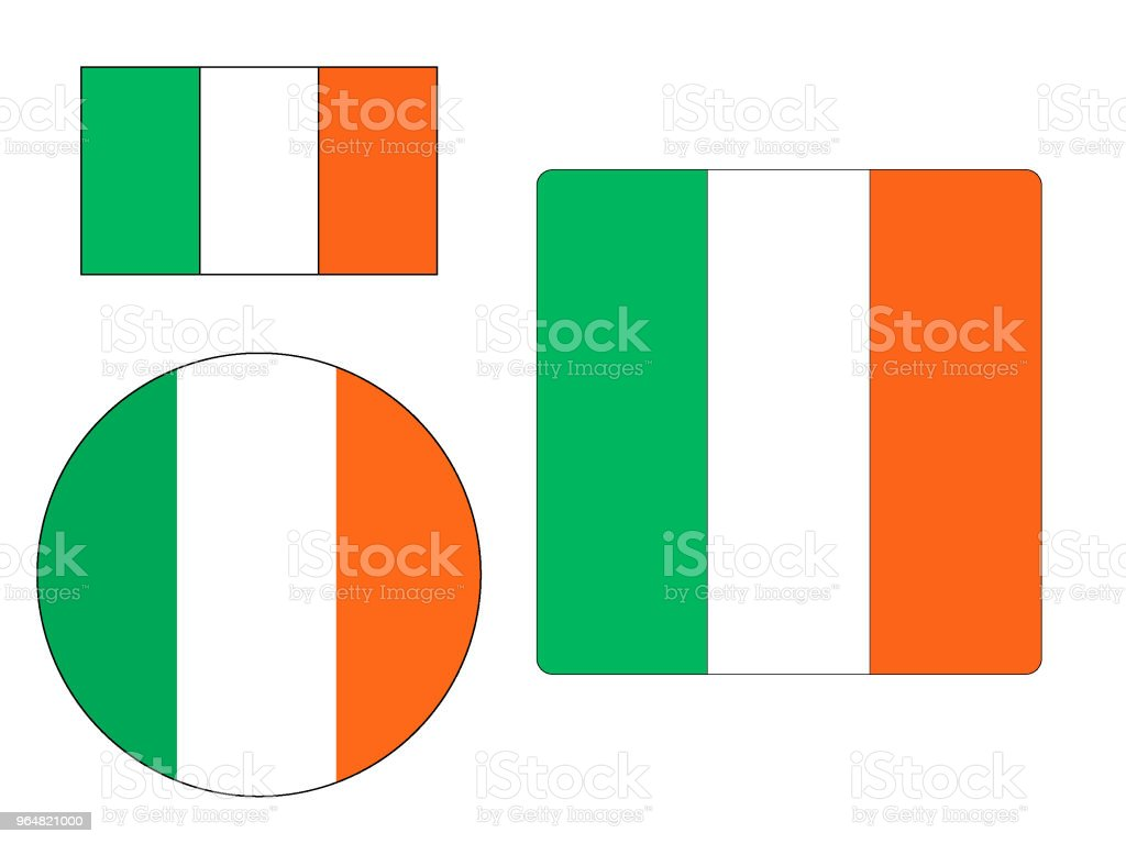 Bandera de Irlanda conjunto - ilustración de arte vectorial
