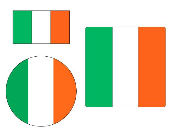 ilustraciones, imágenes clip art, dibujos animados e iconos de stock de bandera de irlanda conjunto - bandera irlandesa