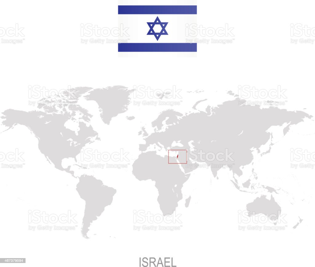 Isreal On World Map.Flag Of Israel And Designation On World Map Stock Vector Art More