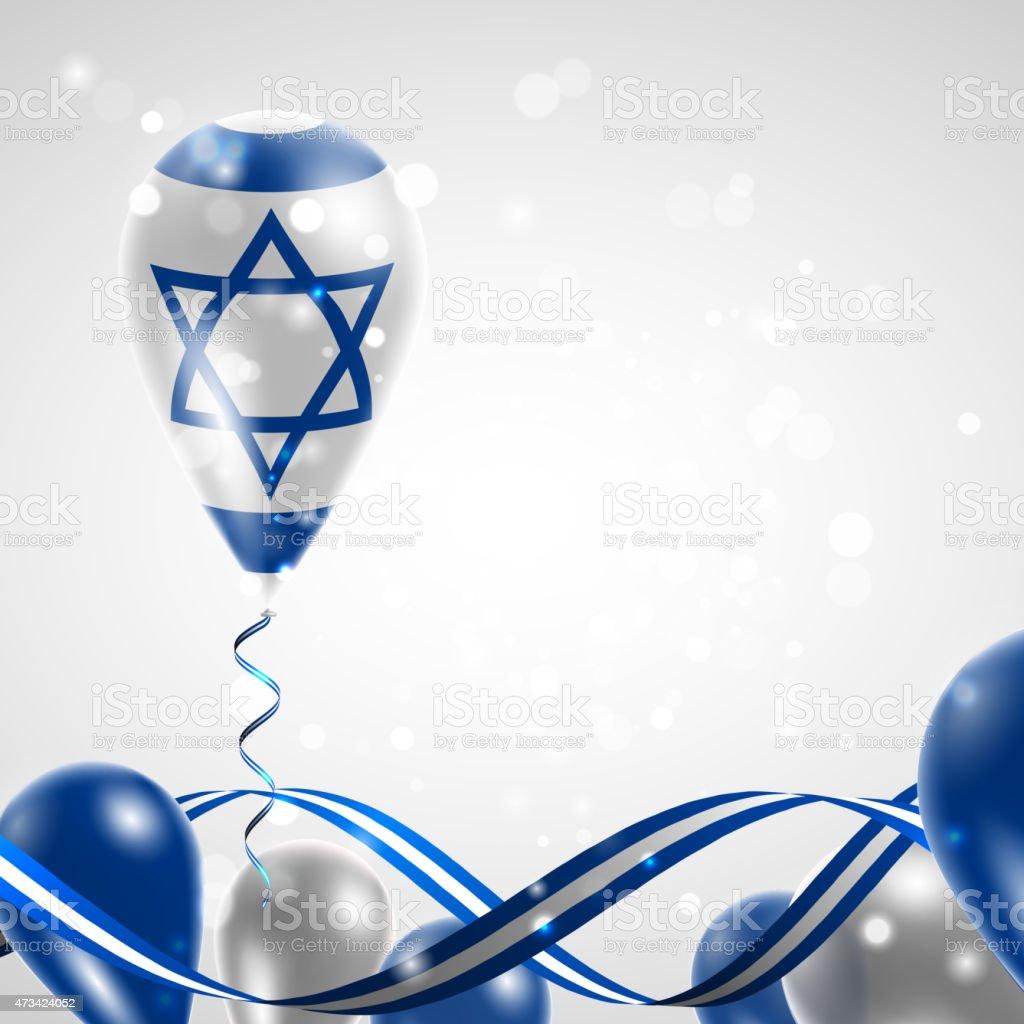 Flag of Israel on balloon vector art illustration