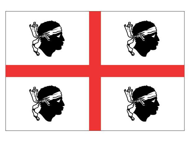 illustrazioni stock, clip art, cartoni animati e icone di tendenza di flag of italian region of sardinia - sardegna