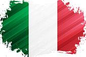 Flag of Italy brush stroke background. National flag of Italian Republic. Vector illustration.