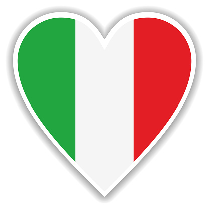 Flag of Italy in heart with shadow and white outline