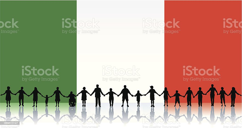 Flag of Italy, People Standing Together Holding Hands Background royalty-free stock vector art