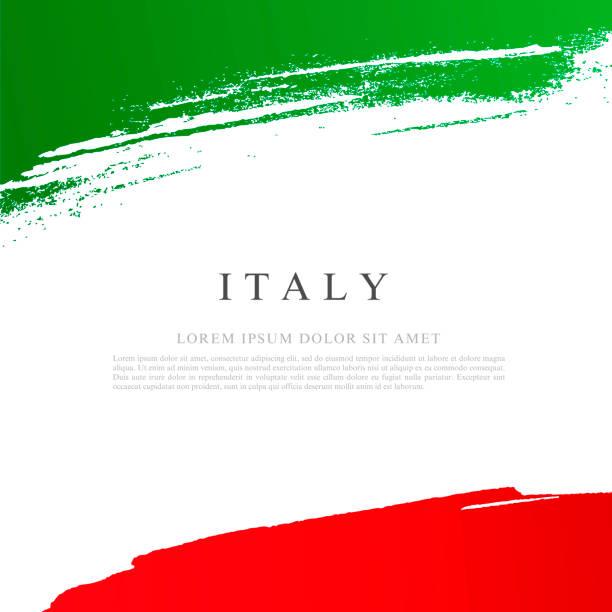Flagge von Italien. Vektordarstellung auf weißem Hintergrund. Pinselstriche von Hand gezeichnet. – Vektorgrafik