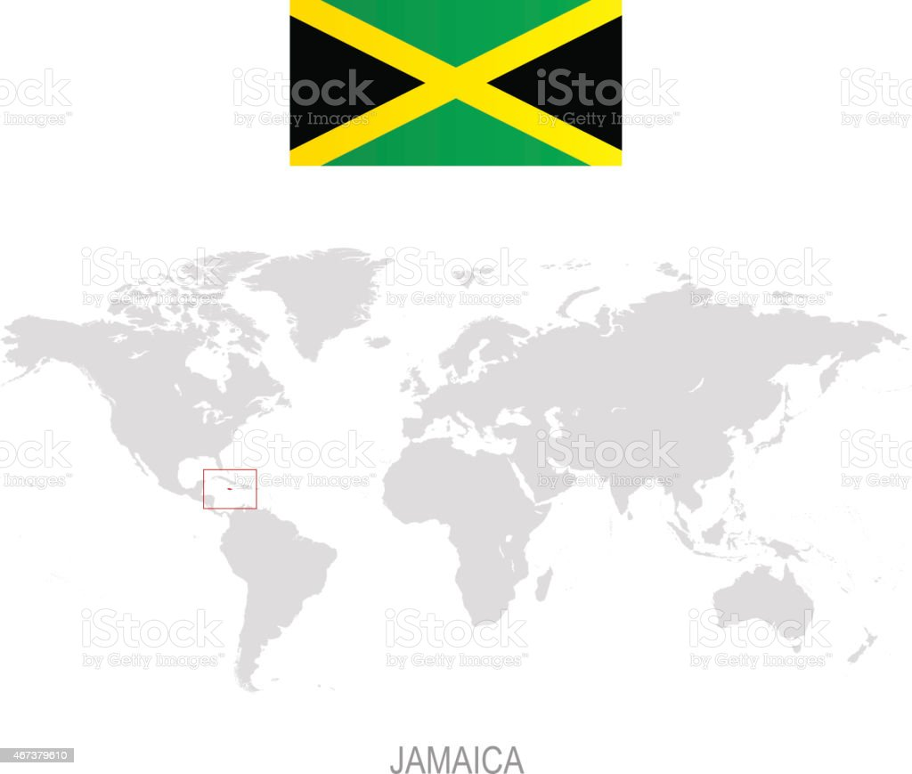 Flag Of Jamaica And Designation On World Map Stock ...