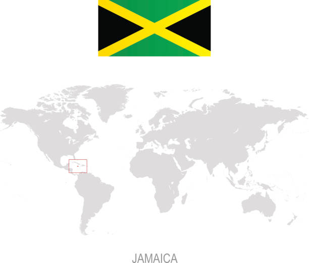 Royalty free world map jamaica clip art vector images flag of jamaica and designation on world map vector art illustration gumiabroncs Images