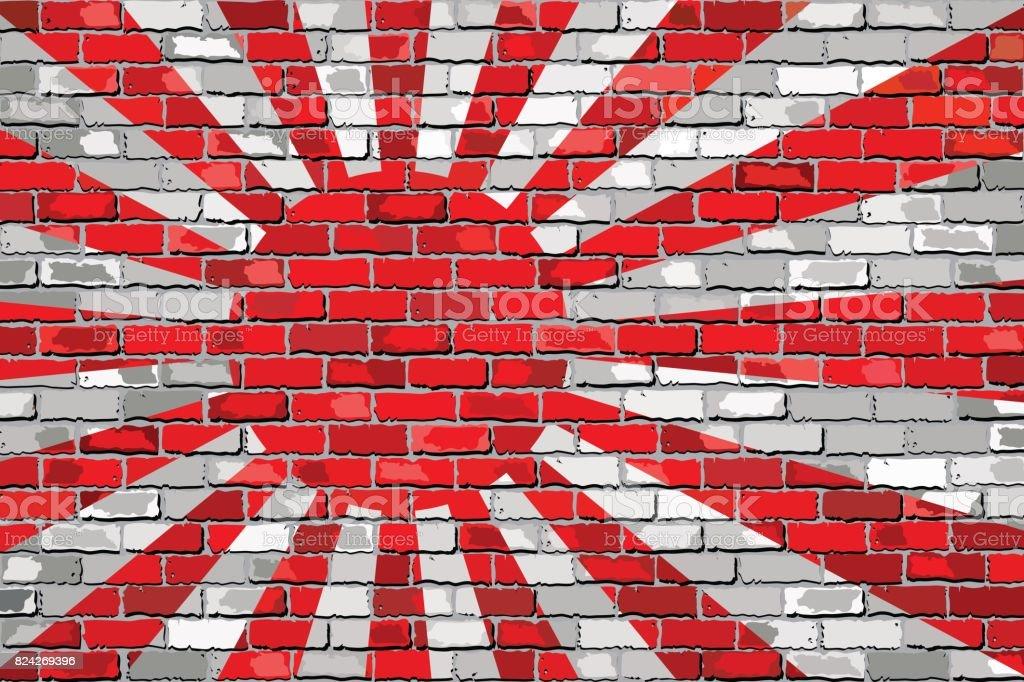 Japon Donanması Bayrağı Bir Tuğla Duvar Stok Vektör Sanatı Abdnin