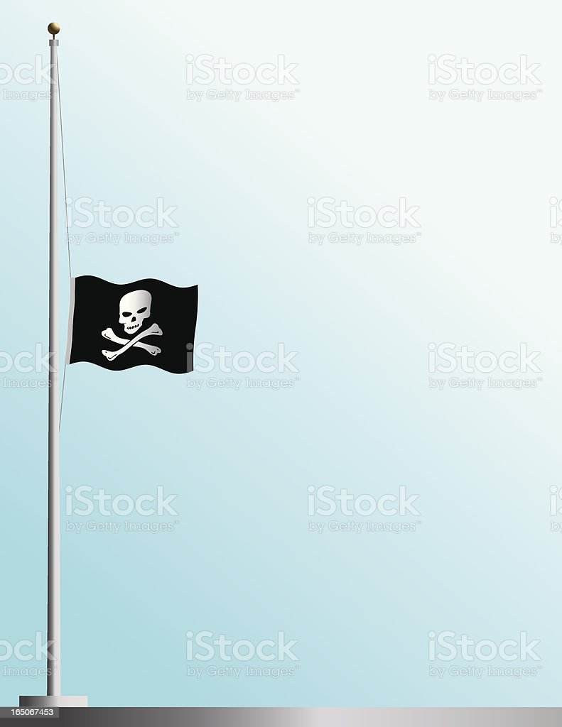 Flag of Jolly Roger at Half-Staff
