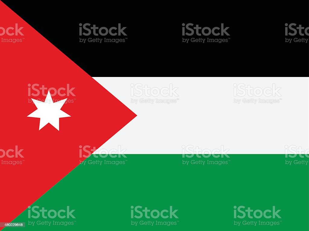 Flag of Jordan vector art illustration