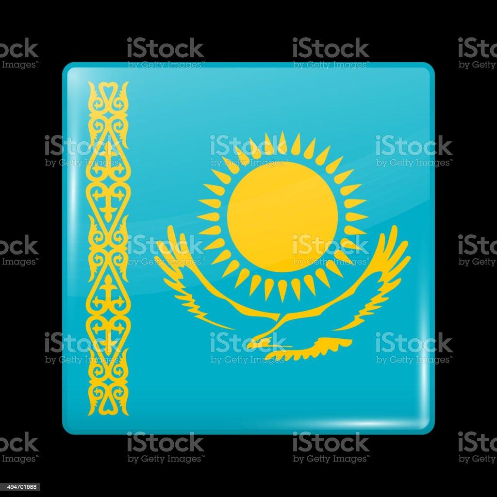 Flag of Kazakhstan. Glassy Icon Square Shape vector art illustration