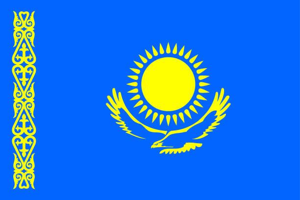 flagge der republik kasachstan - kasachstan stock-grafiken, -clipart, -cartoons und -symbole