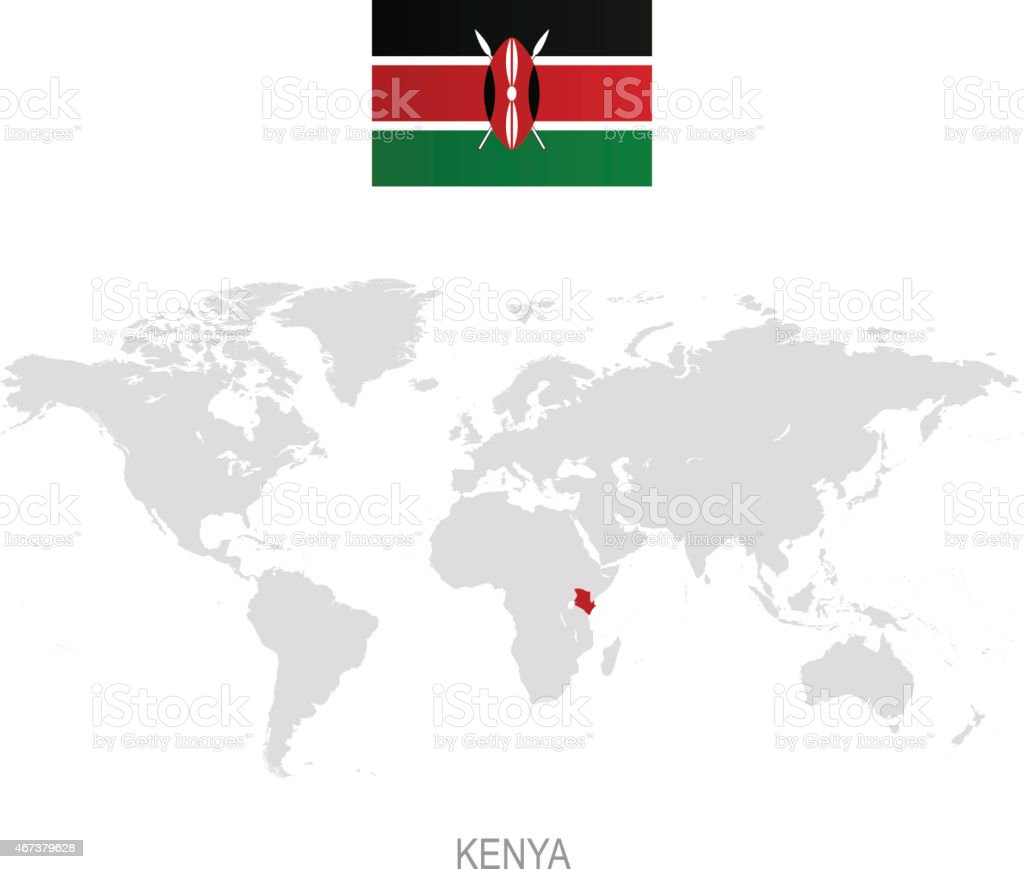 Flag Of Kenya And Designation On World Map stock vector art
