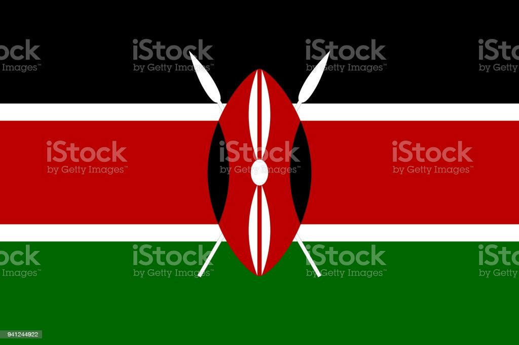 Flag of Kenya official colors and proportions, vector image vector art illustration
