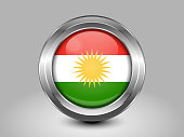 Flag of Kurdistan. Metal Round Icons. This is File from the Collection Asian Flags