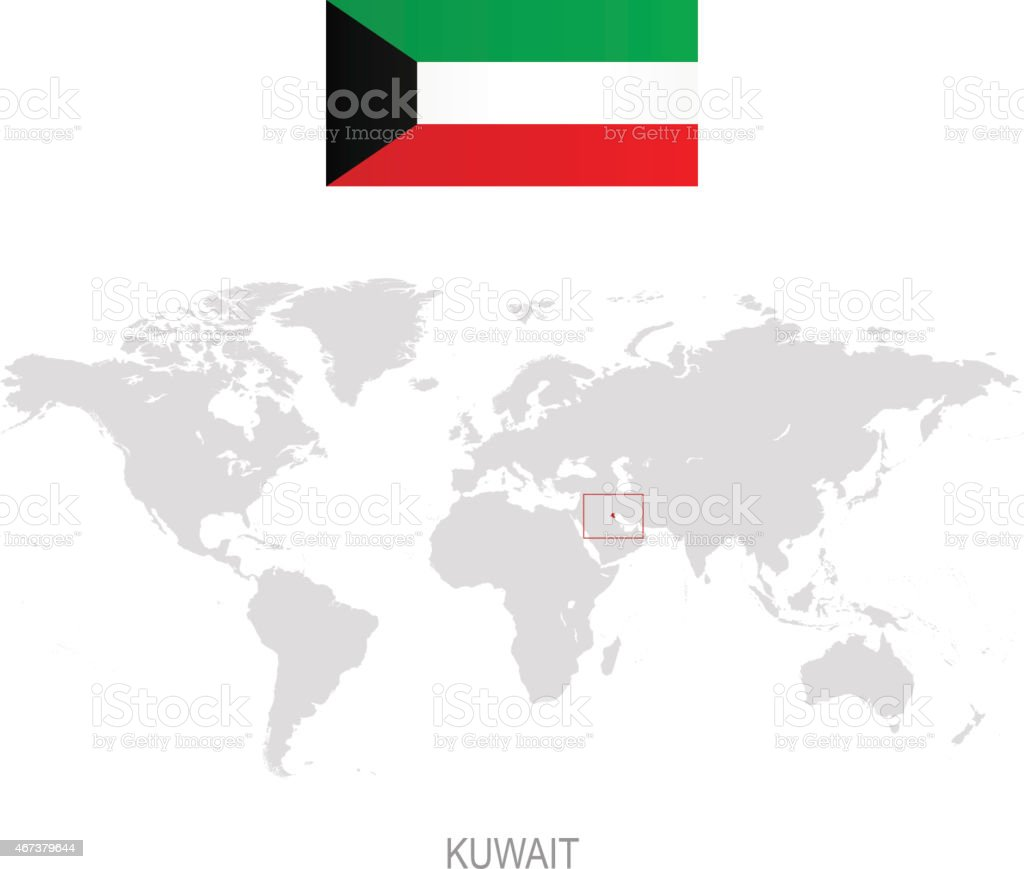 Flag Of Kuwait And Designation On World Map Stock Illustration Download Image Now Istock