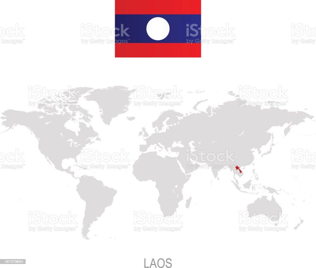 Carte Du Monde Laos.Drapeau Du Laos Et De Designation Sur La Carte Du Monde Vecteurs