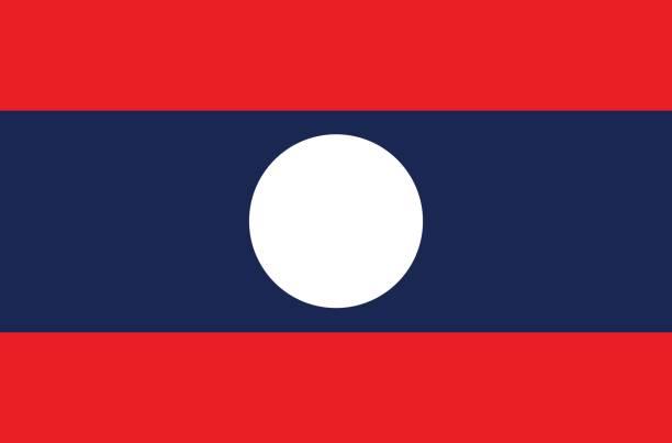 stockillustraties, clipart, cartoons en iconen met vlag van laos - laos indochina