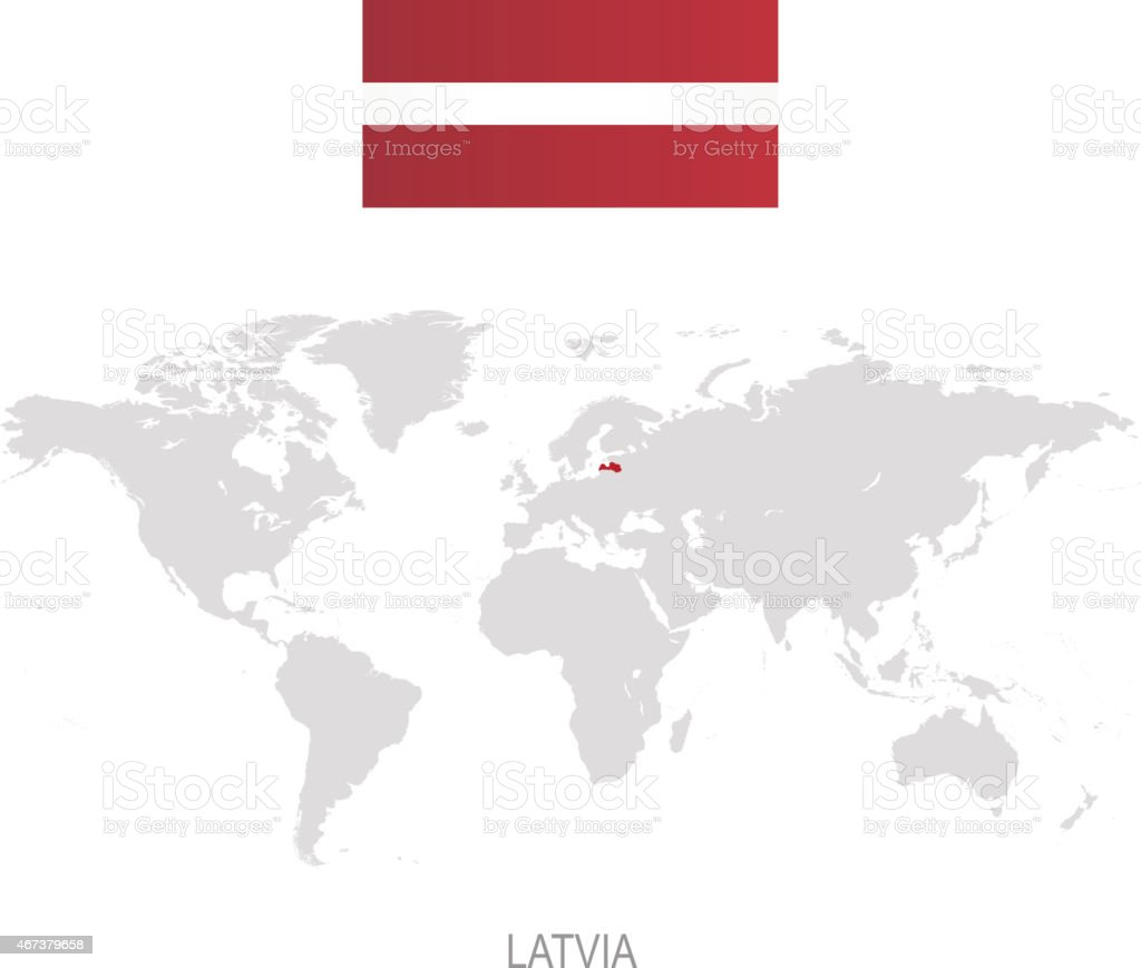 Flag of latvia and designation on world map stock vector art more flag of latvia and designation on world map royalty free flag of latvia and designation gumiabroncs Images