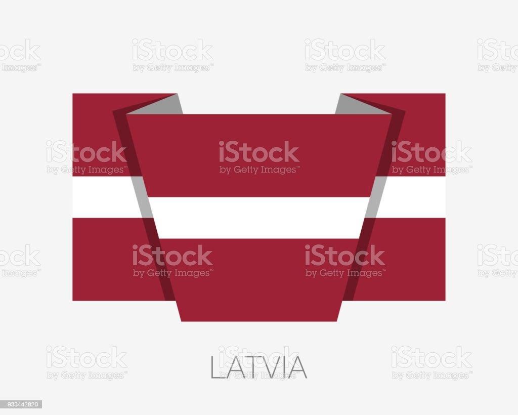 ilustração de bandeira da letónia Ícone plana acenando uma bandeira