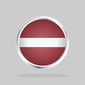 Flag of Latvia, Glossy Round Button With Metallic Frame