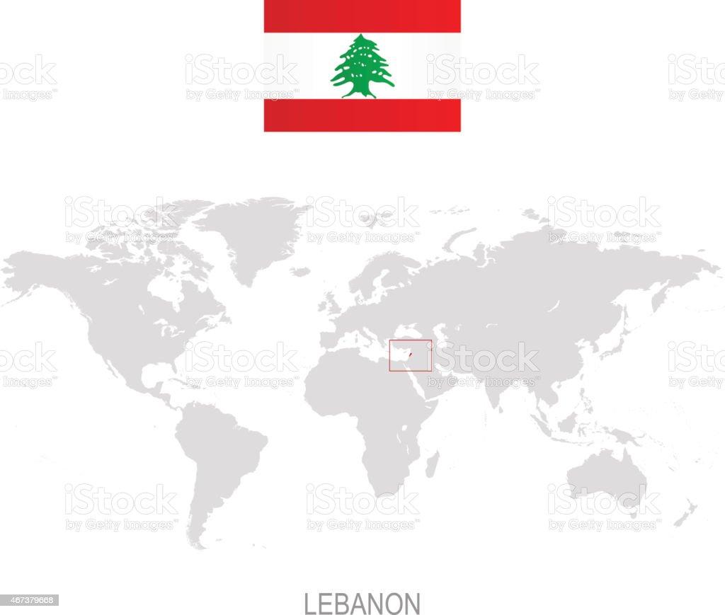 Flag Of Lebanon And Designation On World Map Stock Vector Art More