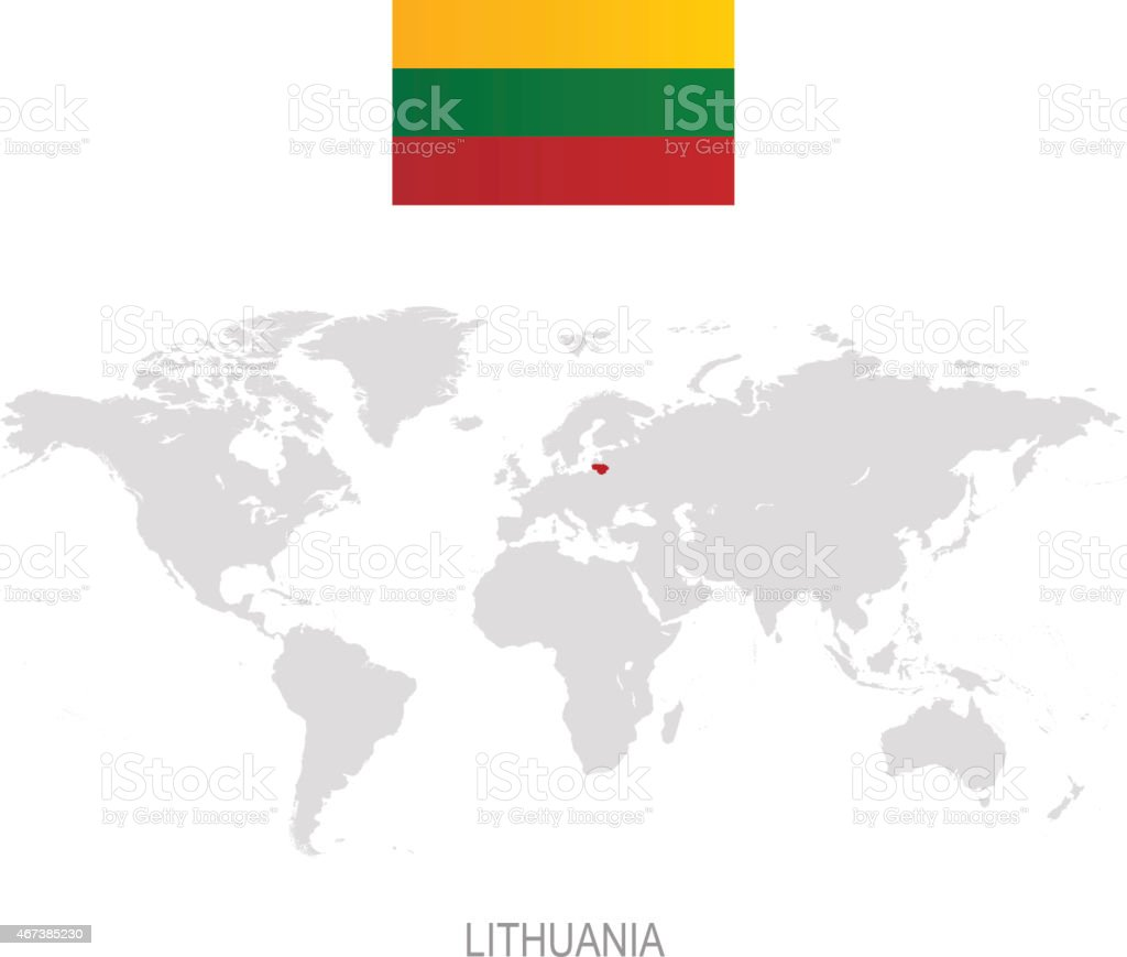 Image of: Flag Of Lithuania And Designation On World Map Stock Illustration Download Image Now Istock