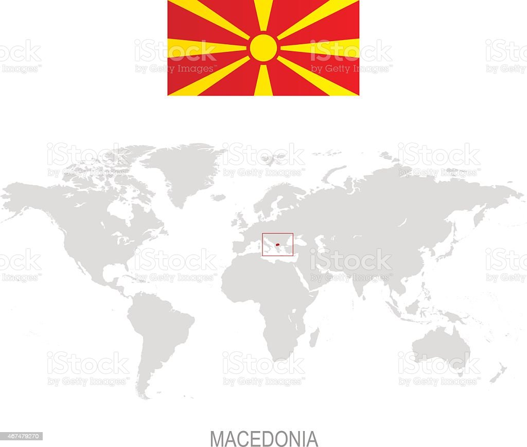 Flag Of Macedonia And Designation On World Map Stock Vector Art