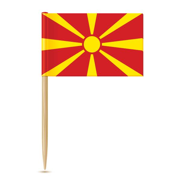 flag of macedonia. flag toothpick 10eps - macedonia country stock illustrations, clip art, cartoons, & icons