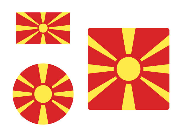 flag of macedonia set - macedonia country stock illustrations, clip art, cartoons, & icons