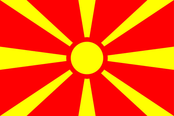 flag of macedonia - macedonia country stock illustrations, clip art, cartoons, & icons