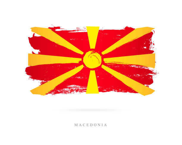 flag of macedonia. vector illustration - macedonia country stock illustrations, clip art, cartoons, & icons