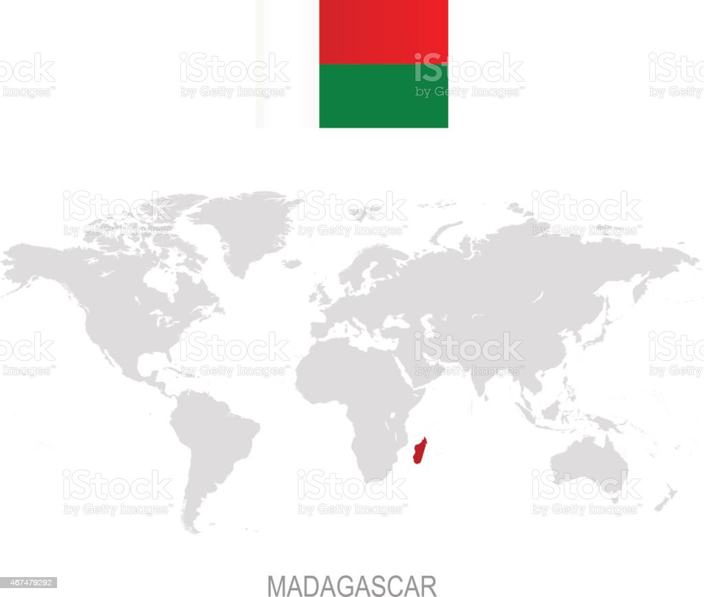 Flag of madagascar and designation on world map stock vector art flag of madagascar and designation on world map royalty free flag of madagascar and designation gumiabroncs Images