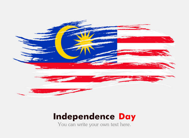 stockillustraties, clipart, cartoons en iconen met flag of malaysia - maleisië
