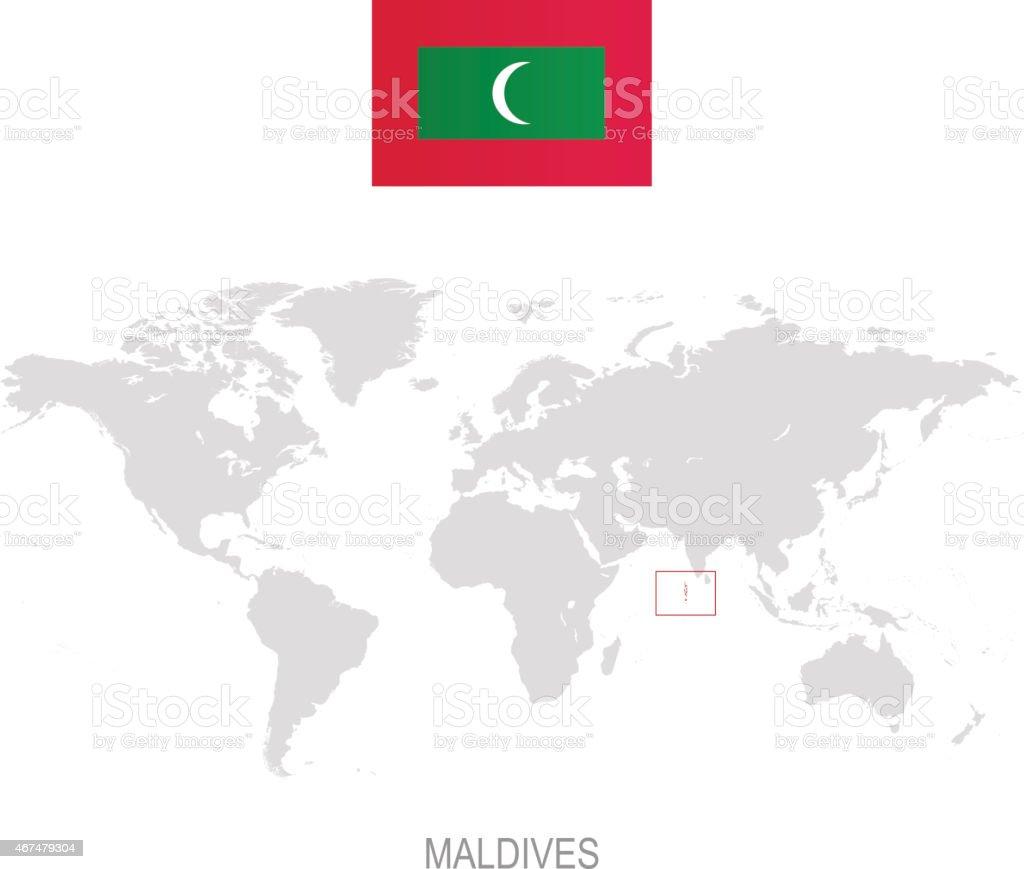 Malediven Karte Weltkarte.Flaggen Der Malediven Und Der Bezeichnung Auf Weltkarte Stock Vektor