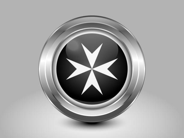 Flag of Malta. Metal Round Icon Flag of Malta. Metal Round Icons. This is File from the Collection European Flags maltese cross stock illustrations