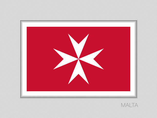 Flag of Malta. Version with Maltese Cross. National Ensign Aspect Ratio 2 to 3 on Gray Cardboard Flag of Malta. Version with Maltese Cross. National Ensign Aspect Ratio 2 to 3 on Gray Cardboard maltese cross stock illustrations