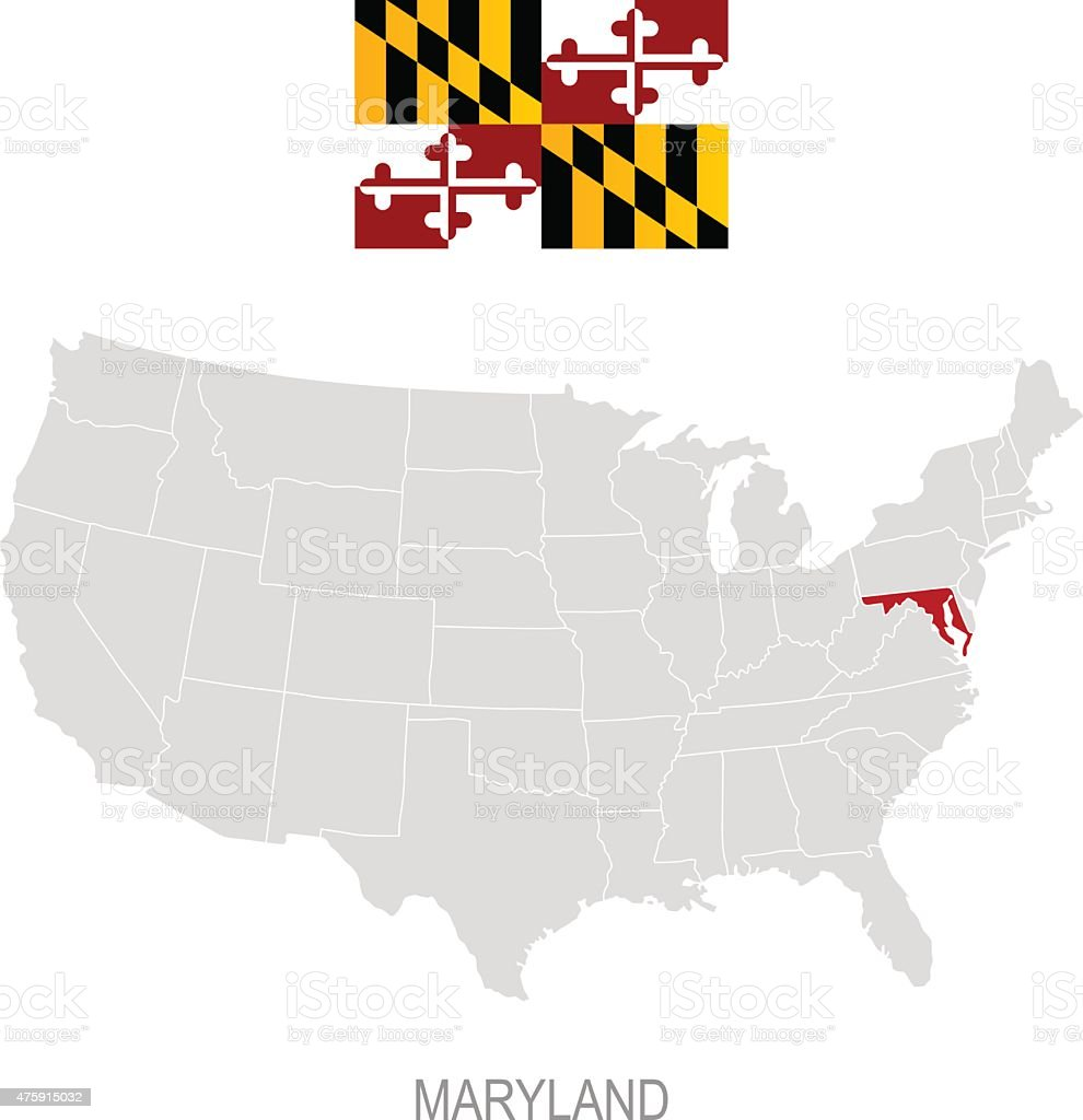 Flag Of Maryland And Location On Us Map stock vector art 475915032