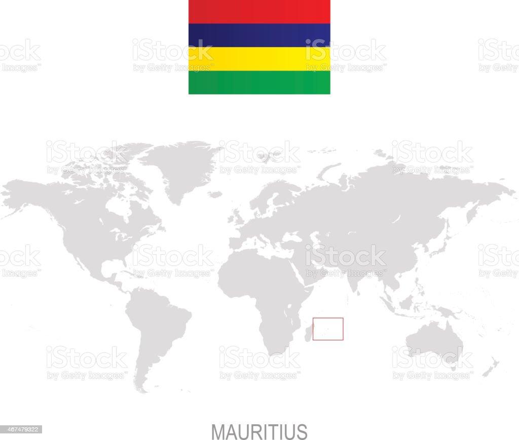 Cartina Geografica Del Mondo Mauritius.Bandiera Delle Mauritius E Designazione Sulla Mappa Del Mondo