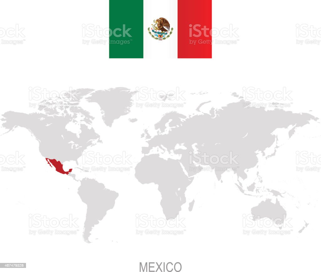 Flag Of Mexico And Designation On World Map Stock Vector Art More