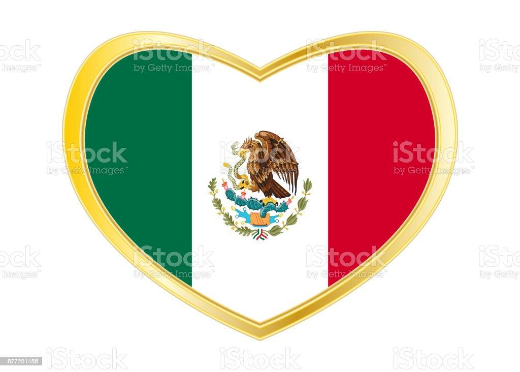 Flagge Mexikos In Herz Form Goldener Rahmen Stock Vektor Art und ...